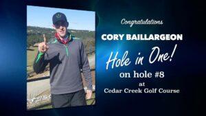Cory Baillargeon Alamo City Golf Trail Hole in One